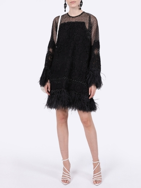 Black feather embellished dress