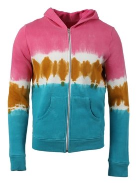 DIP DYED COTTON FLEECE ZIP HOODIE