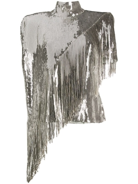 Silver sequin fringe top