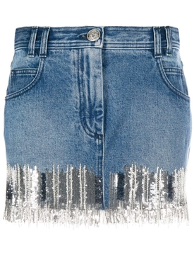 Balmain - Silver Fringed Denim Mini Skirt - Women