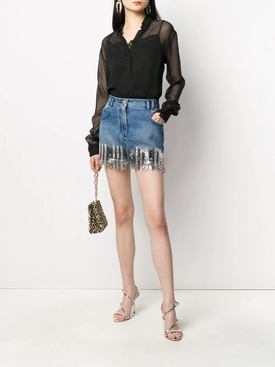 Silver fringed denim mini skirt