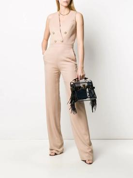 Sleeveless Buttoned V-neck Jumpsuit BEIGE ROSE