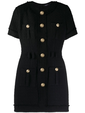 Balmain - Black Tweed Mini Dress - Women