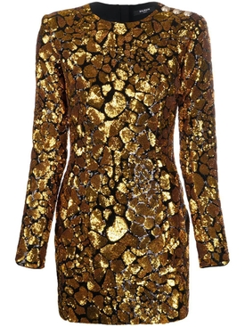 Balmain - Black And Gold Sequined Dress - Women