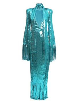 Balmain - Turquoise Fringed Sequin Dress - Women