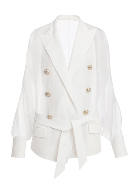 Balmain - Belted 6 Button Silk Jacket - Women