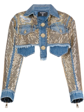 Balmain - Cropped Gold Chain Denim Jacket - Women