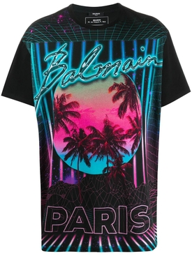 Multicolored Neon Palm Trees Logo T-shirt