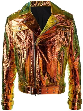 Metallic Hologram Leather Moto Jacket