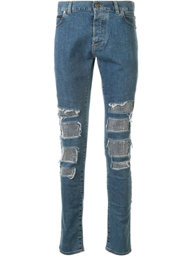 studded distressed skinny jeans