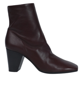 Dalva ankle leather boots BURGUNDY