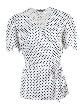 Polka-dot wrap top