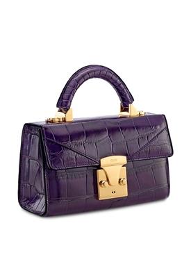 2.0 Mini Top Handle Crocodile Bag Plum