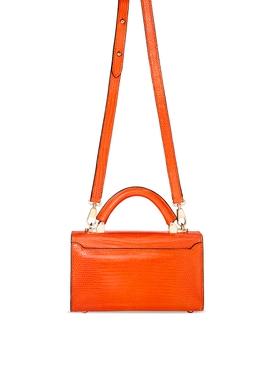 2.0 Mini Top Handle Lizard Bag Tangerine