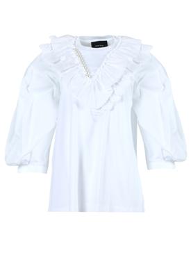 White faux pearl ruffle blouse
