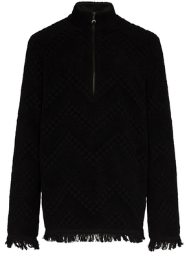 Frayed terry jacquard sweater BLACK