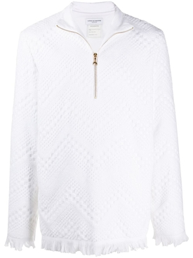 Frayed terry jacquard sweater WHITE