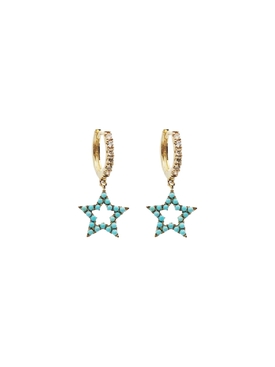 Gold and Turquoise Star Earrings