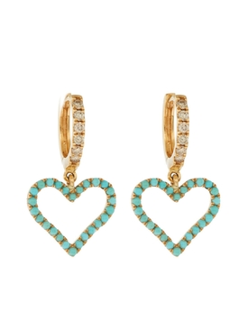 Turquoise and brown diamond heart hoop earrings