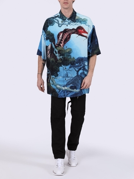 Blue dragon print silk shirt