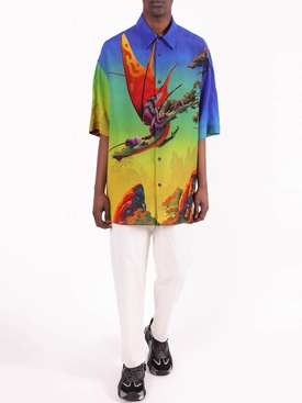 Multicolored Dragon Print Button-Down Shirt