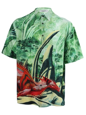 Green dragon print shirt