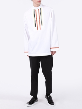White Embroidered Long-Sleeve Shirt