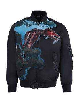 Navy dragon print bomber jacket