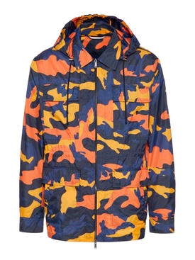 Orange and navy camouflage windbreaker