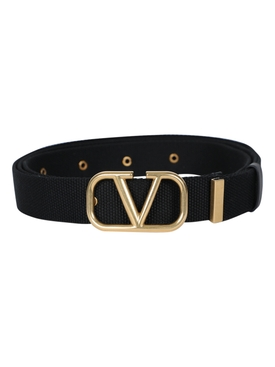 Valentino - Gold Tone V-logo Belt Black - Men