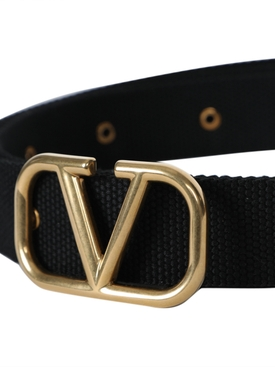 Gold tone v-logo belt BLACK
