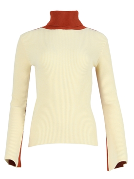 Pale yellow knit  turtleneck top
