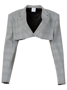 Cropped Tailored Jacket Grey Check