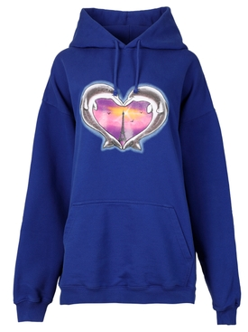 ROYAL BLUE DOLPHINS HEART LOGO HOODIE