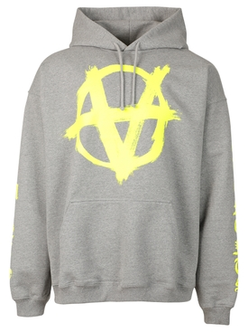 DOUBLE ANARCHY LOGO HOODIE GREY AND NEON YELLOW