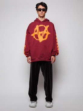 DOUBLE ANARCHY LOGO HOODIE BORDEAUX AND ORANGE