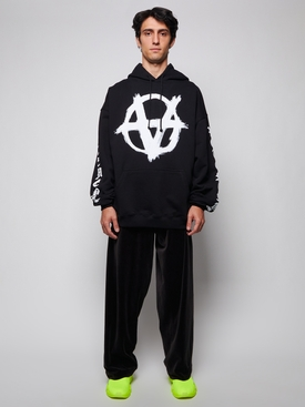 DOUBLE ANARCHY LOGO HOODIE BLACK AND WHITE