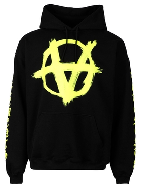 DOUBLE ANARCHY LOGO HOODIE BLACK AND YELLOW