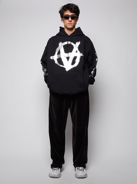 DOUBLE ANARCHY LOGO HOODIE BLACK AND SILVER
