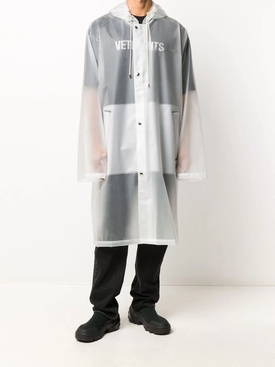 Long Logo raincoat WHITE
