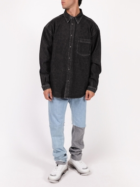 Classic button down denim shirt BLACK WASHED