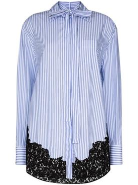 Lace Insert Pinstripe Shirt