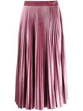 Soft Pink Pleated Midi Skirt