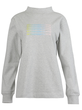 LONG SLEEVE TEE WITH WIDE NECK AND REPEAT LOGO