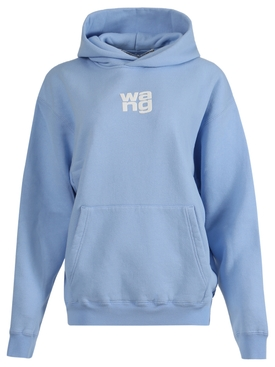 Puff logo garment washed hoodie LIGHT BLUE