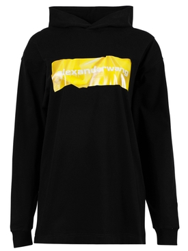 LONG SLEEVE HOODIE WITH CRUMPLED LOGO PRINT