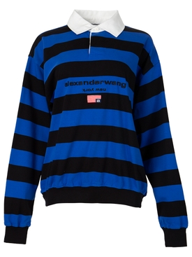STRIPED LONG-SLEEVE RUGBY T-SHIRT COBALT AND BLACK