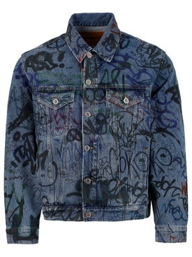 GRAFFITI PRINT DENIM JACKET , BLUE