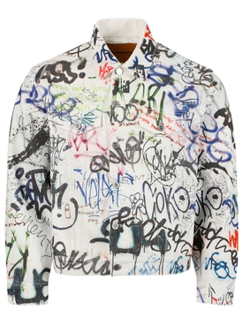 GRAFFITI PRINT DENIM JACKET , WHITE