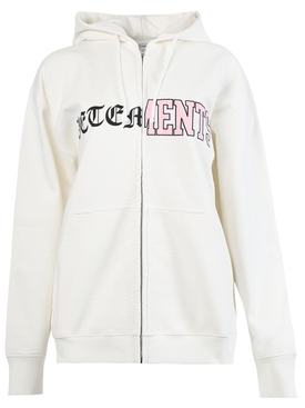 VERTICAL CUT-UP LOGO HOODIE, IVORY